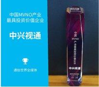 """中兴视通荣获""""中国 MVNO 产业最具投资价"""